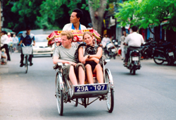 Rickshaw ride or cyclo ride in Hanoi